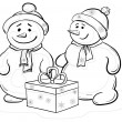 Stock Photo: Snowmens children with gift box