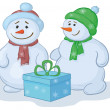 Snowmens with gift box — Stok fotoğraf