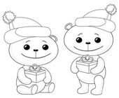 Teddy bears with Christmas gift boxes — Foto de Stock