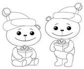 Medvídků s vánoční dárkové krabičky — Stock fotografie