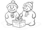 Snowmens children with gift box — Stock Photo