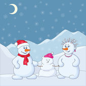 Snowmens in the winter mountains — Stock Photo