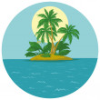 Island with palm and sun — Stock Vector