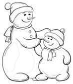 Snowmens mother and son, contours — Stock Photo