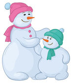 Snowmens mother and son — Stock Photo