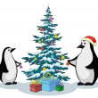 Penguins and Christmas tree — Stock Photo