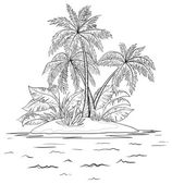 Island with palm, contours — Stock Photo