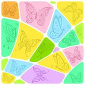Mosaico de fondo con mariposas — Vector de stock