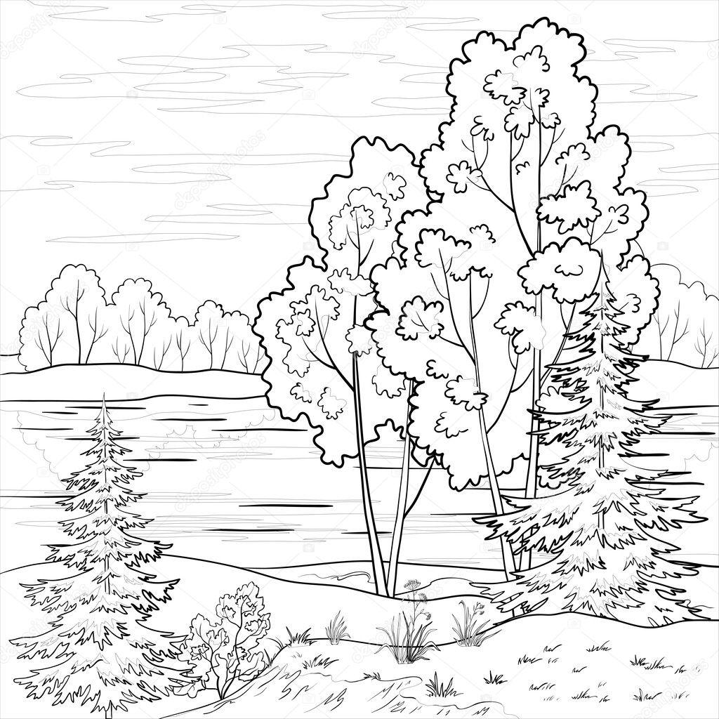 Coloring Page Landscape - Images river landscape coloring pages mountain landscape coloring pages