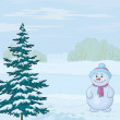 Snowman and Christmas tree — Stock Photo
