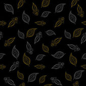 Background, leaves on black — Stock Vector