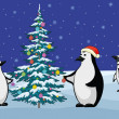 Penguins and Christmas tree — Stockfoto