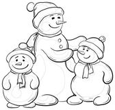 Snowmens mother and children, contours — Stock Photo