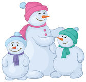 Snowmens mother and children — Stock Photo