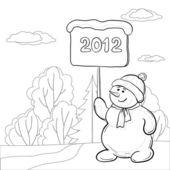 雪人男孩与海报 — 图库照片