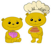 Teddy bears with cake and gift box — Stock Photo