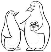 Tučňáci s dárkový box, kontury — Stock fotografie