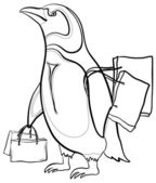 Penguin with bags, contours — Stock Photo