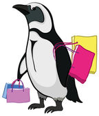Penguin with bags — Stockfoto