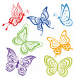 Stock Photo: Butterflies, coloured contours