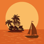 Sailing boat in the tropical sea — Stock Vector