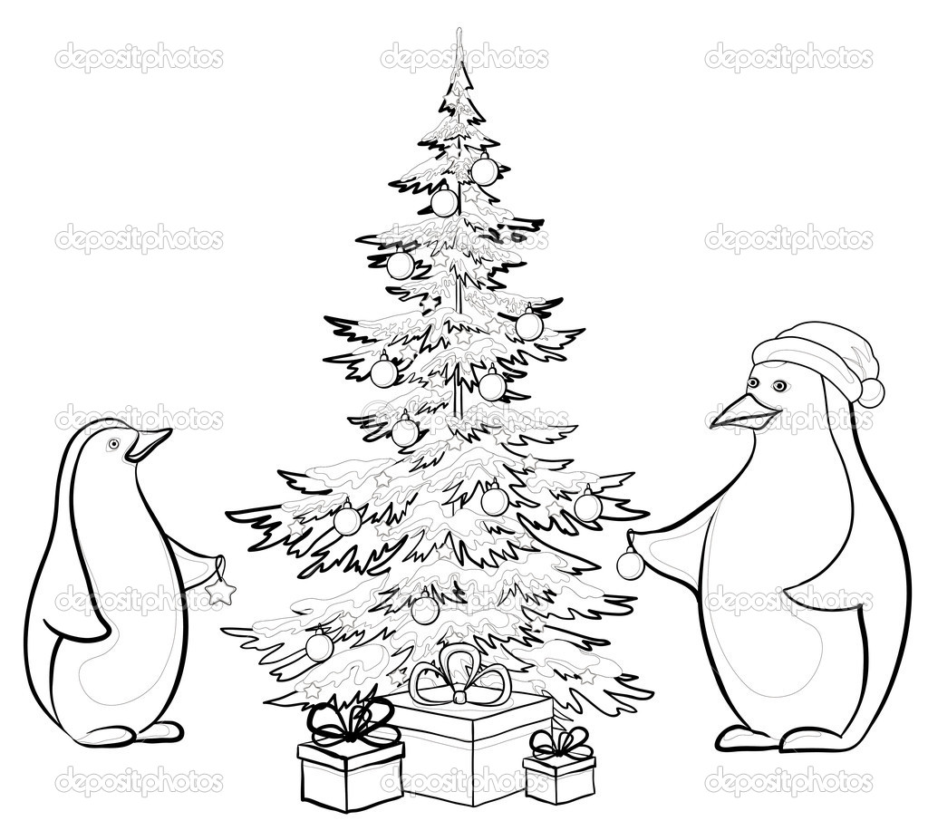 Antarctic emperor penguins decorate Christmas tree, contours — Stock Photo #7876141
