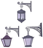 Vintage street lanterns — Stock Vector