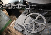 Anchor winch with chain — Stock Photo