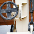 Fragment of old safe-boat crane — Stock Photo