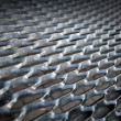 Metal grid, black gangway — Stock Photo