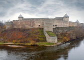 Ivangorod fortress at the Narva river — Stock Photo