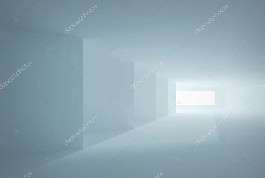 Abstract Architecture. Blue Interior with corners, windows and sunlight — Stock Photo #7581562