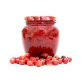 Cranberries and cranberry jam — Stock Photo