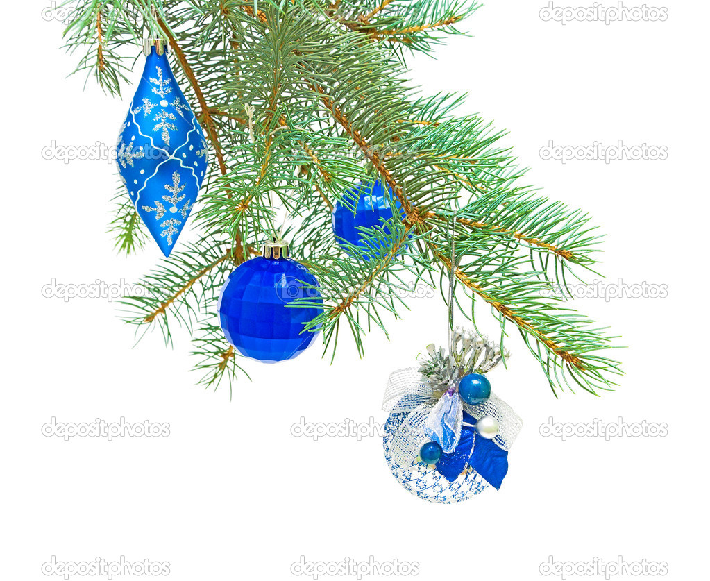 New Year's toys on the branches of spruce on a white background — Stock Photo #6918354