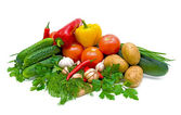 Mixed vegetables on a white background — Stock Photo