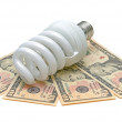 Energy saving light bulb and U.S. dollars — Stock fotografie