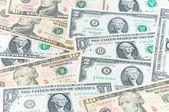U.S. dollars in various denominations — Stock Photo