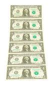 Billete de dólar sobre un fondo blanco — Foto de Stock
