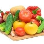 Set fresh vegetables on white background — Stock Photo #7544827