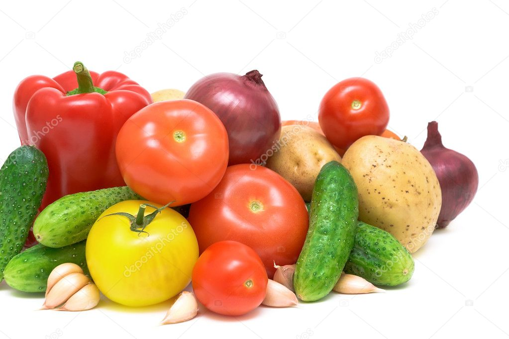 Vegetables closeup on white background  Stock Photo #7542253