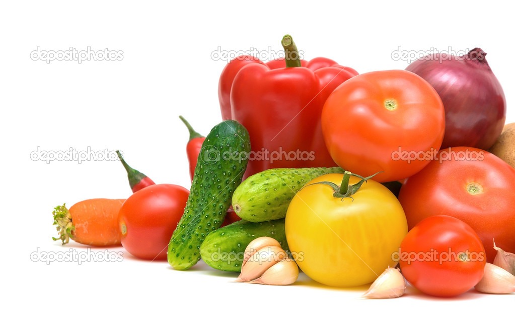 Healthy Eating. Seasonal organic raw vegetables. On a white background — Stock Photo #7542569