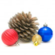 Stock Photo: Christmas decorations closeup on white background