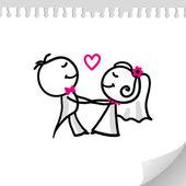 Couple de mariage de bande dessinée — Vecteur