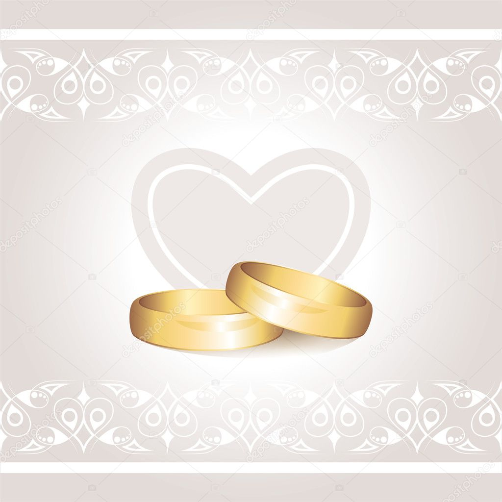 Wedding invitation with gold rings on gray background  Stock Vector #6763990