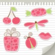 Cute pink stickers — Stock Vector