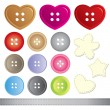 Set of sewing buttons — Stock Vector