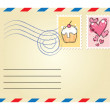Envelope with stamps — Stock Vector