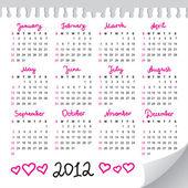 Calendario 2012 — Vettoriale Stock