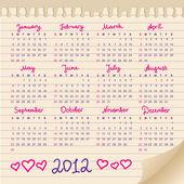 Kalendář 2012 — Stock vektor