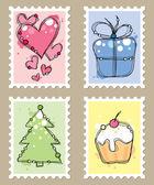 郵便切手 — ストックベクタ